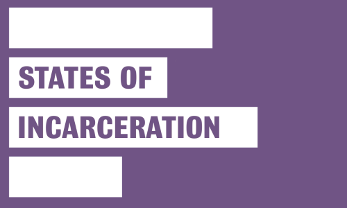 "Purple block with four white bars. Text overlaid on white bars reads ""States of Incarceration"""