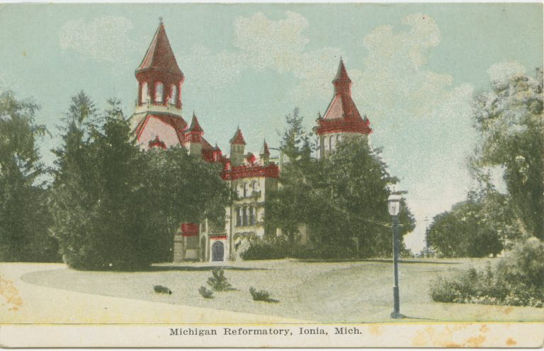 Illustration of a tall building with spires and a red roof, surrounded by trees.