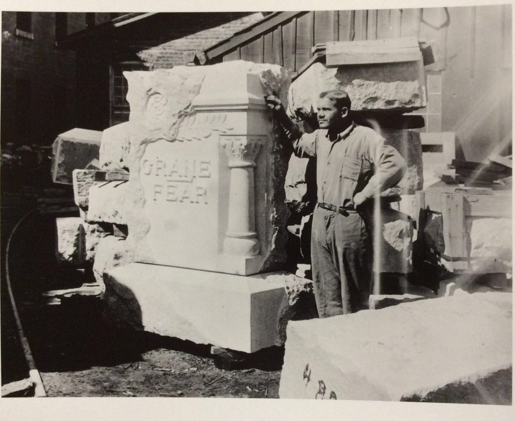 Monument work at Jackson Prison, c. 1910-1930. [Archives of Michigan]