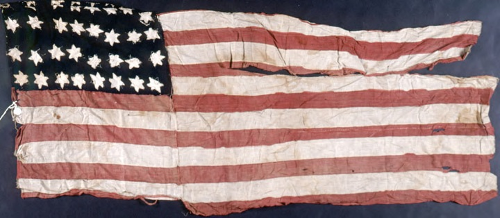 Color photographs of the tenth Michigan Cavalry battle flag.