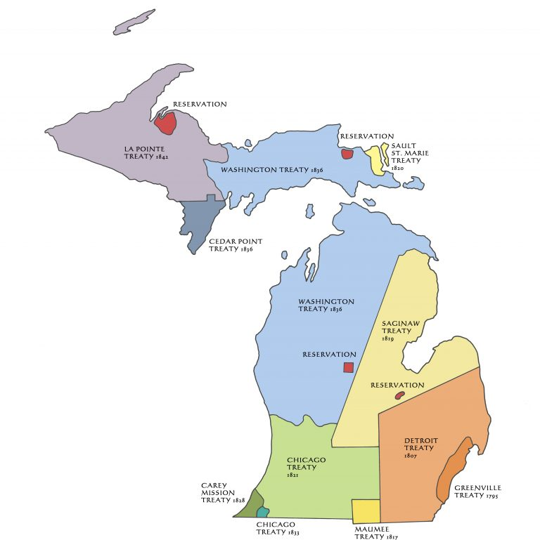 Color coded map of Michigan showing lands ceded through treaties.