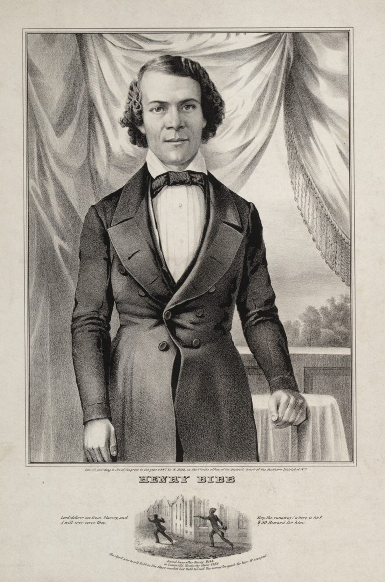 Black and white print, 3/4 length portrait of a man (Henry Bibb) standing in front of drapery.
