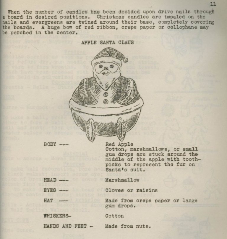 Page from a book featuring an illustration of an apple decorated as Santa Claus.