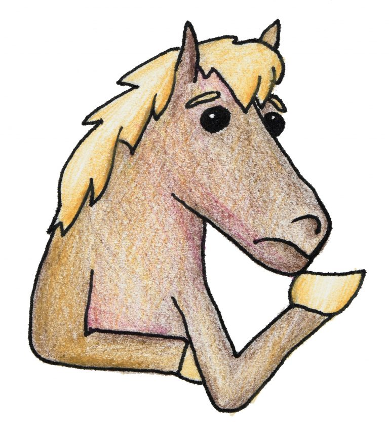 A color drawing of a horse thinking about something