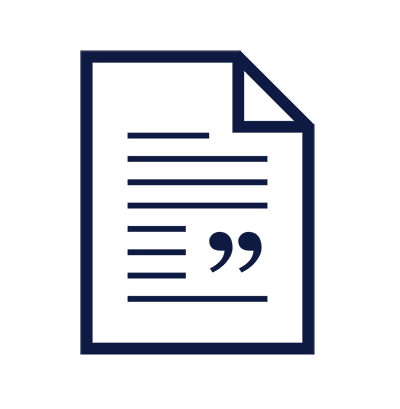 Icon of document with quotations on top to indicate a transcript.