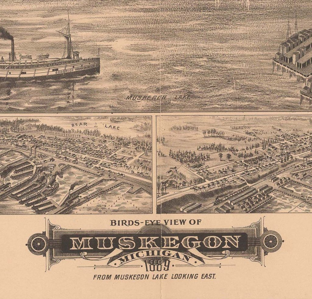 Ilustrated ariel view of the port of Muskegon. Bottom reads