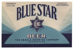 Blue Star Beer Label Print - shades of blue with blue 6-point star in center.