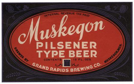 Muskegon Pilsnener Type Beer Label Print