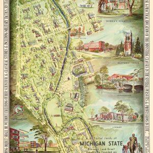 A Pictorial Rendu of Michigan State, 1955 Print