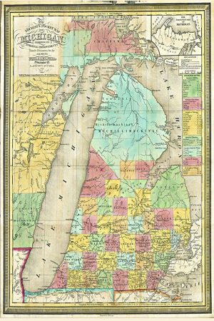 1839 Pocket Map of Michigan Magnet
